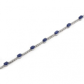 18k White Gold Sapphire and Diamond Line Bracelet